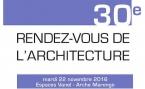 Rendez-vous de l'Architecture le 22 novembre 2016